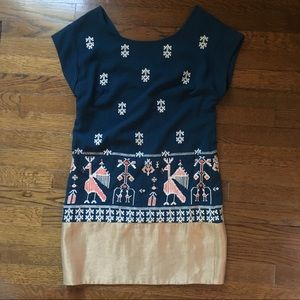 ANTHROPOLOGIE floret dress embroidered